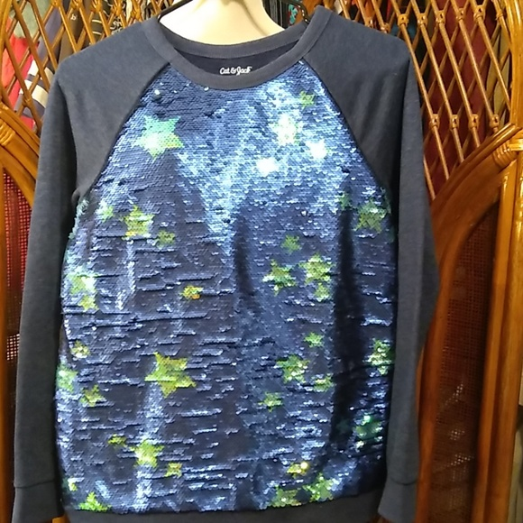 Cat & Jack Other - Cat & Jack Sweatshirt -reverse sequin stars -14/16